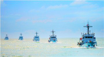 Minesweepers steam in South China Sea