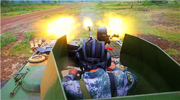 Type 54 and Type 88 12.7mm anti-aircraft machine guns in live-fire training