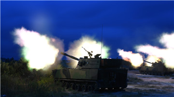 Self-propelled howitzer systems fire 122mm shells