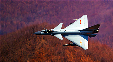 J-10 fighter jets fly through valley
