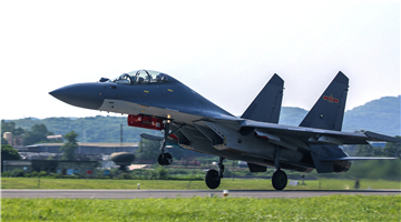 J-16 fighter jets take off in formation