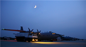 Y-8 reconnaissance aircraft take off in Liaodong Peninsula