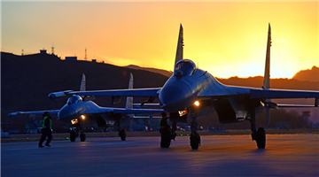 J-11 fighter jets ready for night sorties