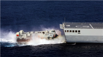 LCAC approaches its mother ship in waters off the Xisha Islands