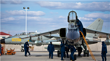 Routine maintenance on JH-7 fighter bombers in Inner Mongolia