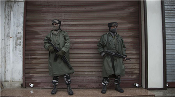 Indian paramilitary soldiers stand guard during security lockdown in Srinagar