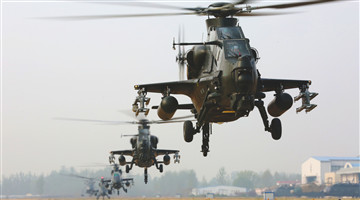 Attack helicopters lift off simultaneously