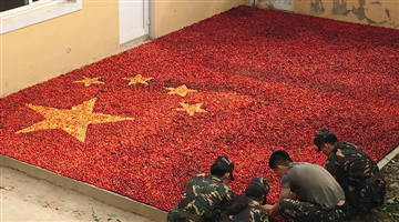 A national flag made from cherries in Liaoning province